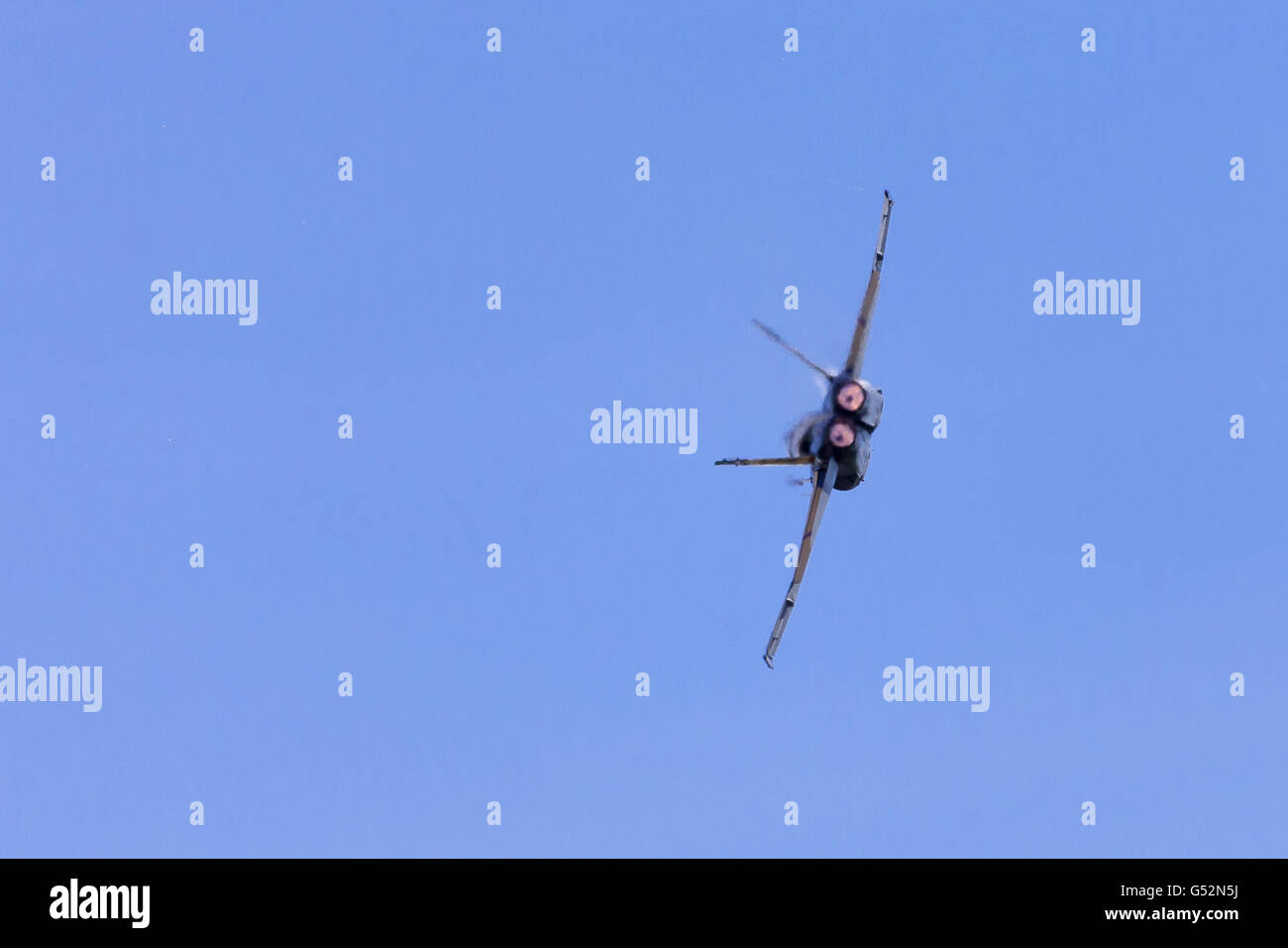 A RCAF CF-18 Hornet performs at the Great Lakes International Airshow in St. Thomas Ontario, Canada. Stock Photo