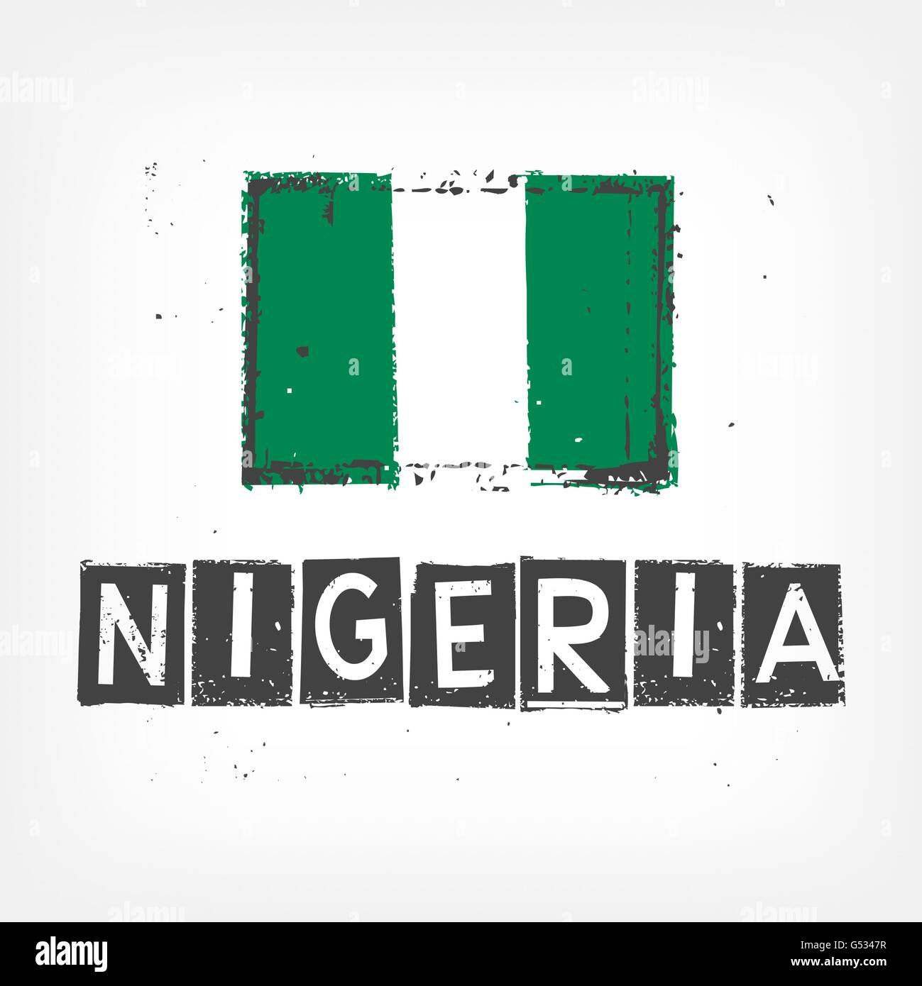 Nigeria flag stylized - Stock Vector