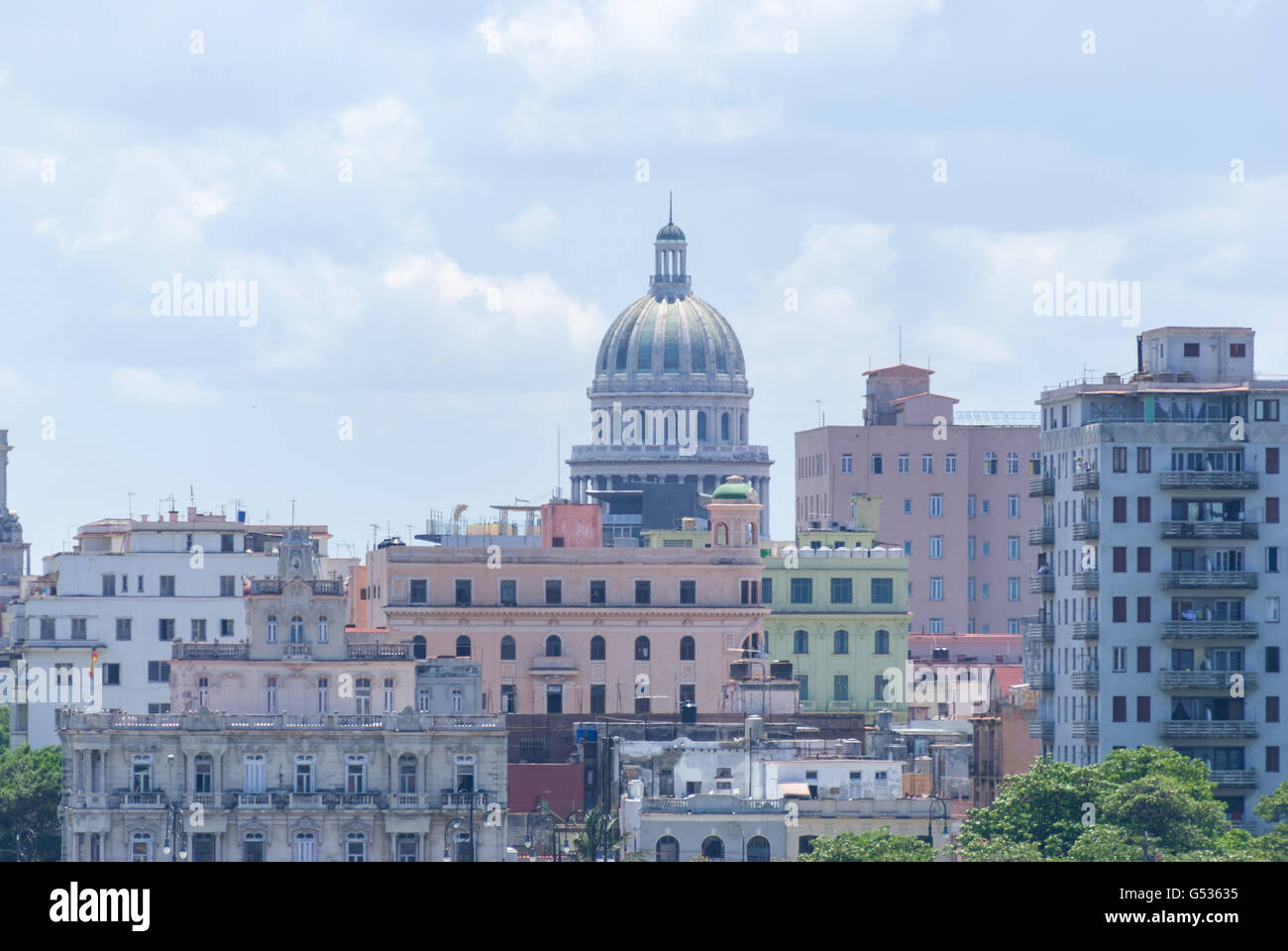 Cuba, Havana, view from Casablanca to the Capitolio - Stock Image