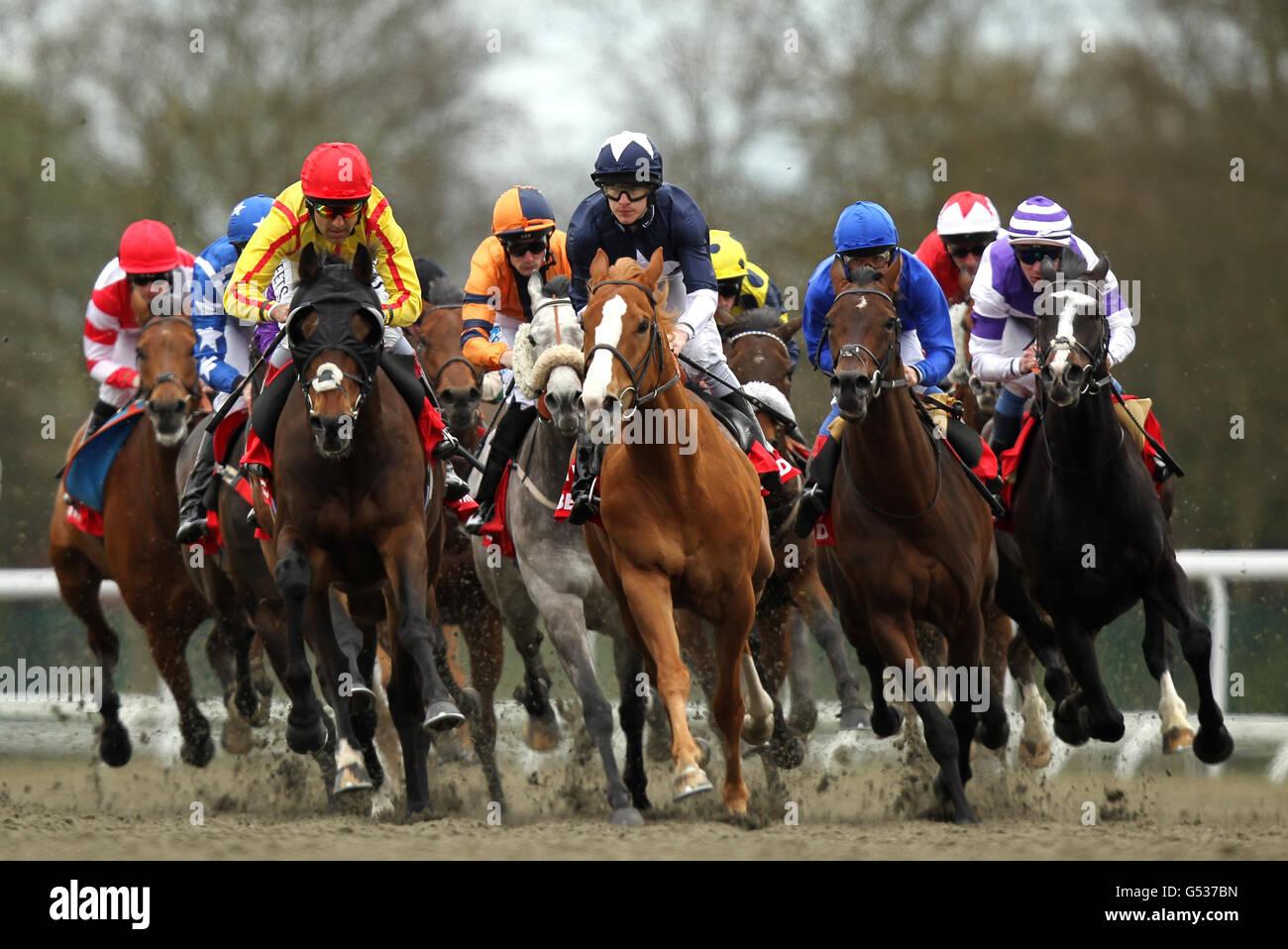 Nazeef stock photos nazeef stock images alamy horse racing easter family fun day kempton park racecourse stock image negle Images