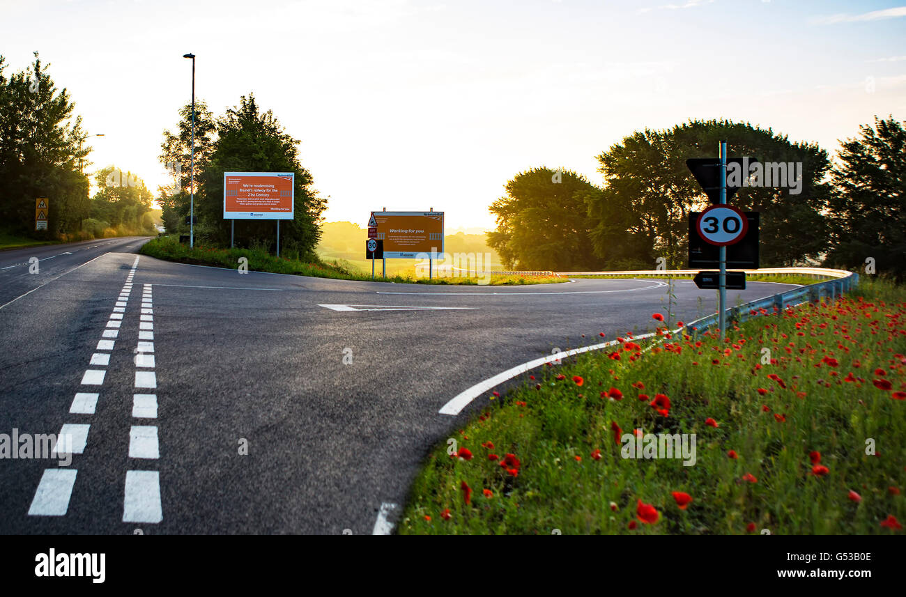 Temporary road built by Network Rail in Wootton Bassett to avoid 30 mile detour - Stock Image