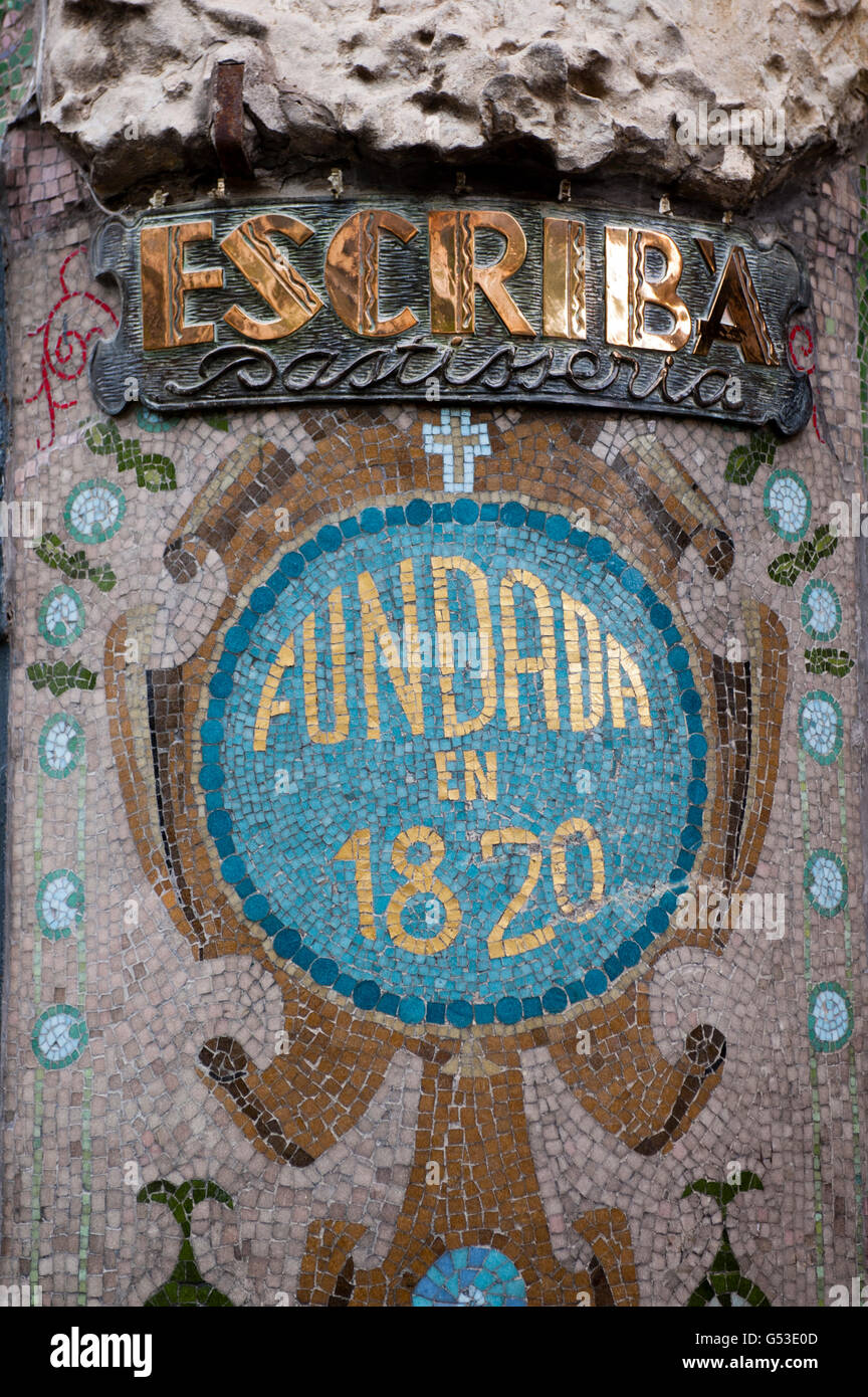 Sign, Patisseria Escriba, La Rambla, Barcelona, Spain, Europe - Stock Image