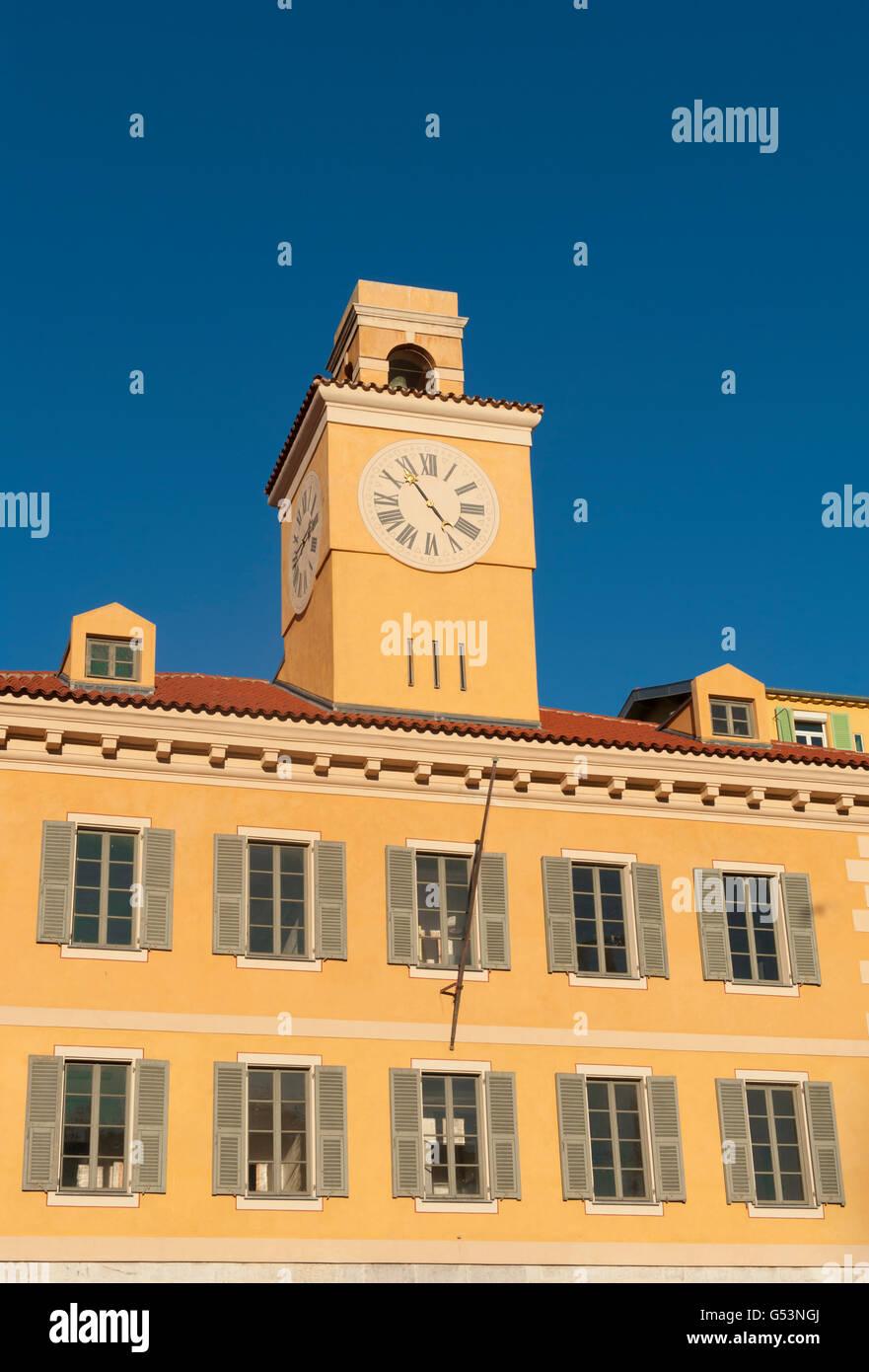 Tour de l'Horloge of the Palais de Justice at Rue Fodéré, Nice, Provence-Alpes-Côte d'Azur; France Stock Photo