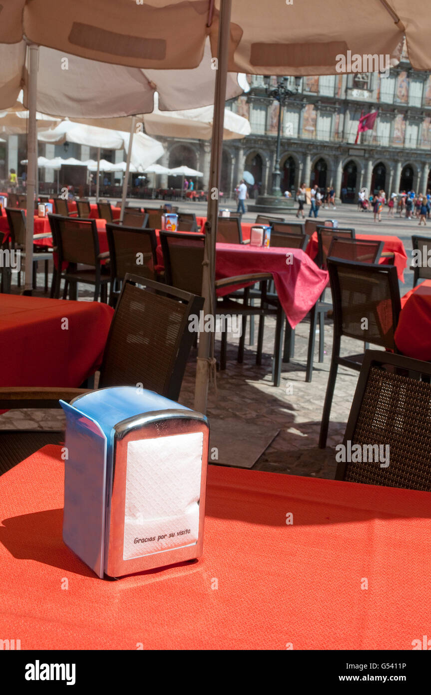 Thanks for your visit. Paper napkin. Main Square, Madrid, Spain. - Stock Image