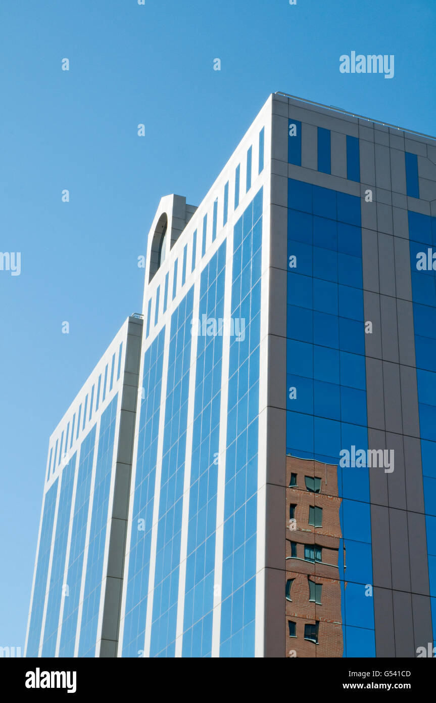 Glass facade of office building. Madrid, Spain. - Stock Image