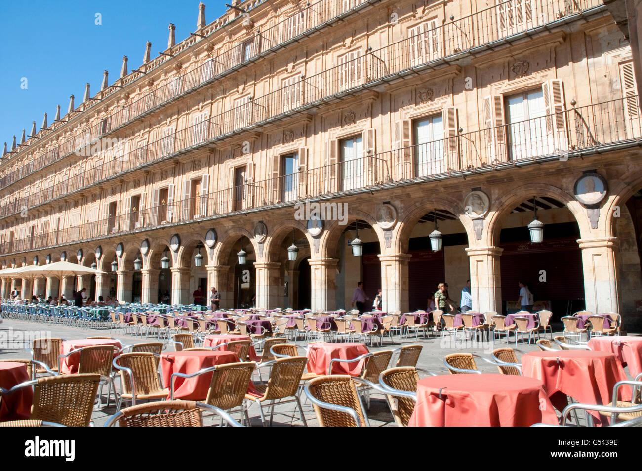Terraces in the Main Square. Salamanca, Spain. - Stock Image