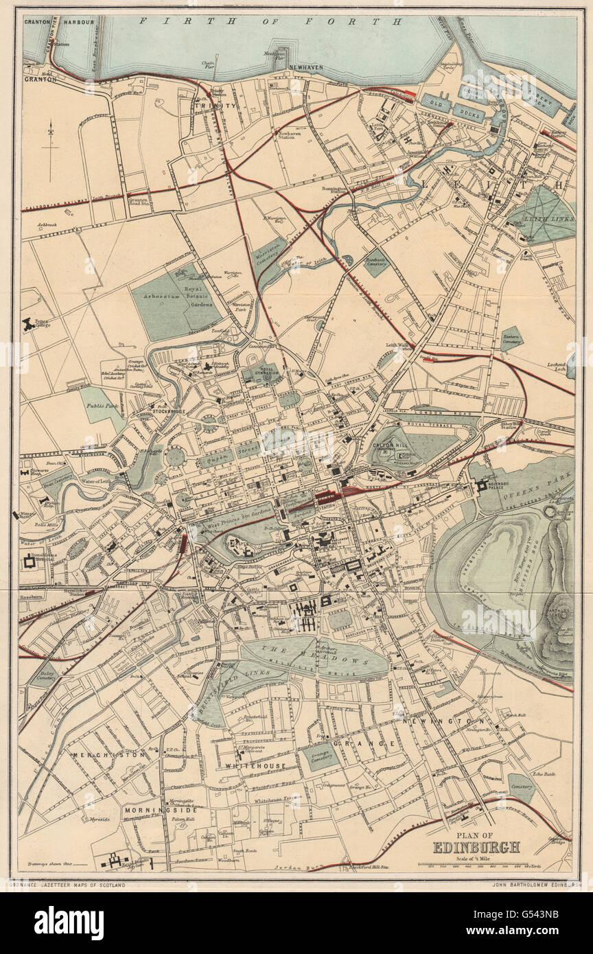 Leith Scotland Map.Edinburgh Leith Antique Town Plan Scotland Bartholomew 1885
