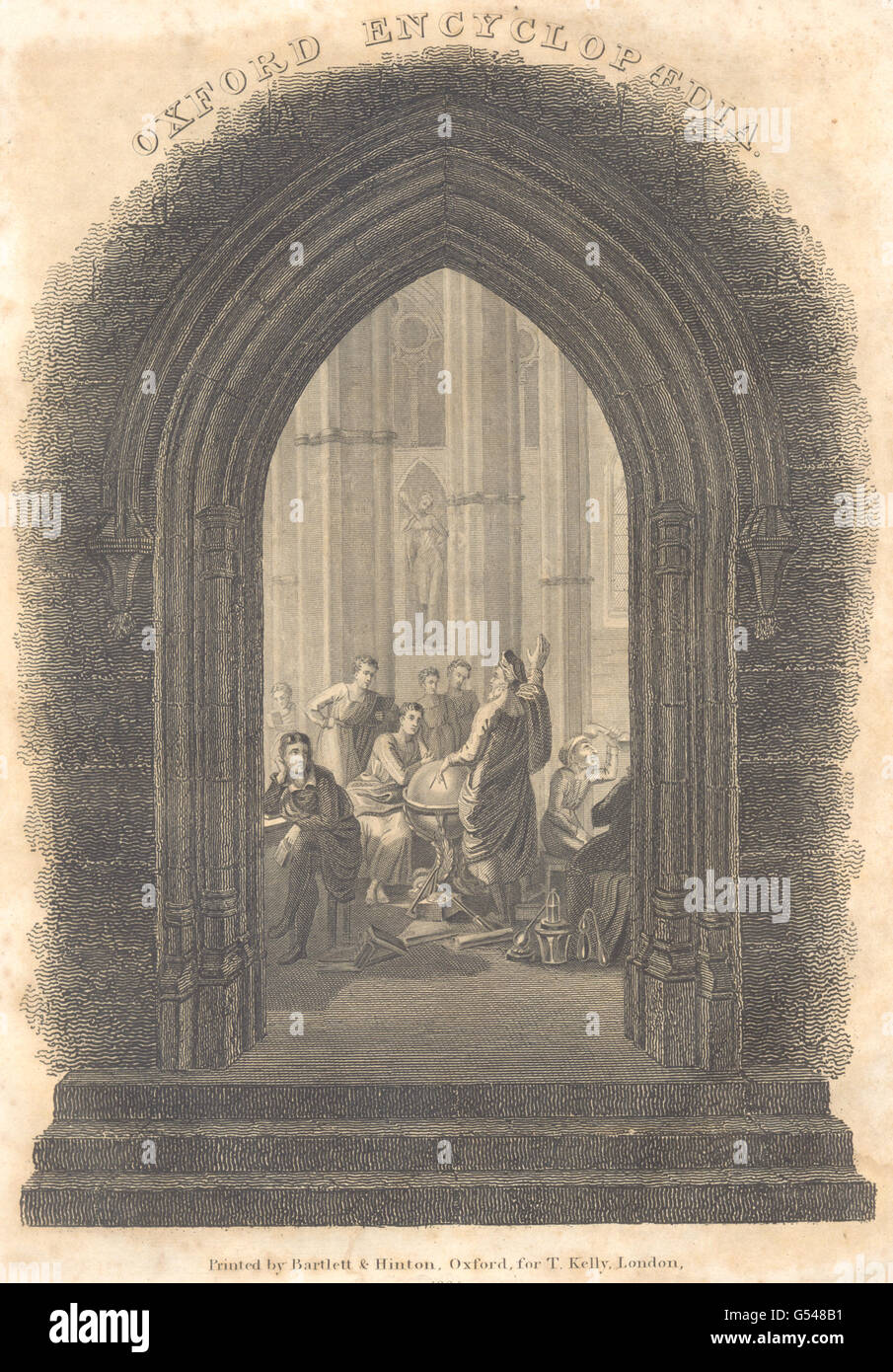 CHURCHES: Oxford Encyclopedia frontispiece, antique print 1830 - Stock Image