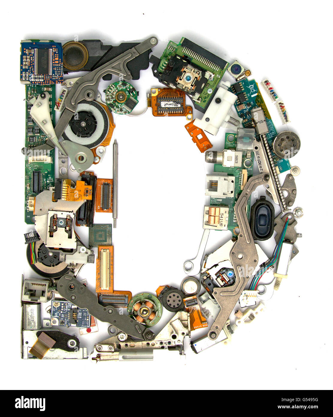 Letter Made Out Of Objects.The Letter D Made Up From Old Electronic Parts Stock Photo