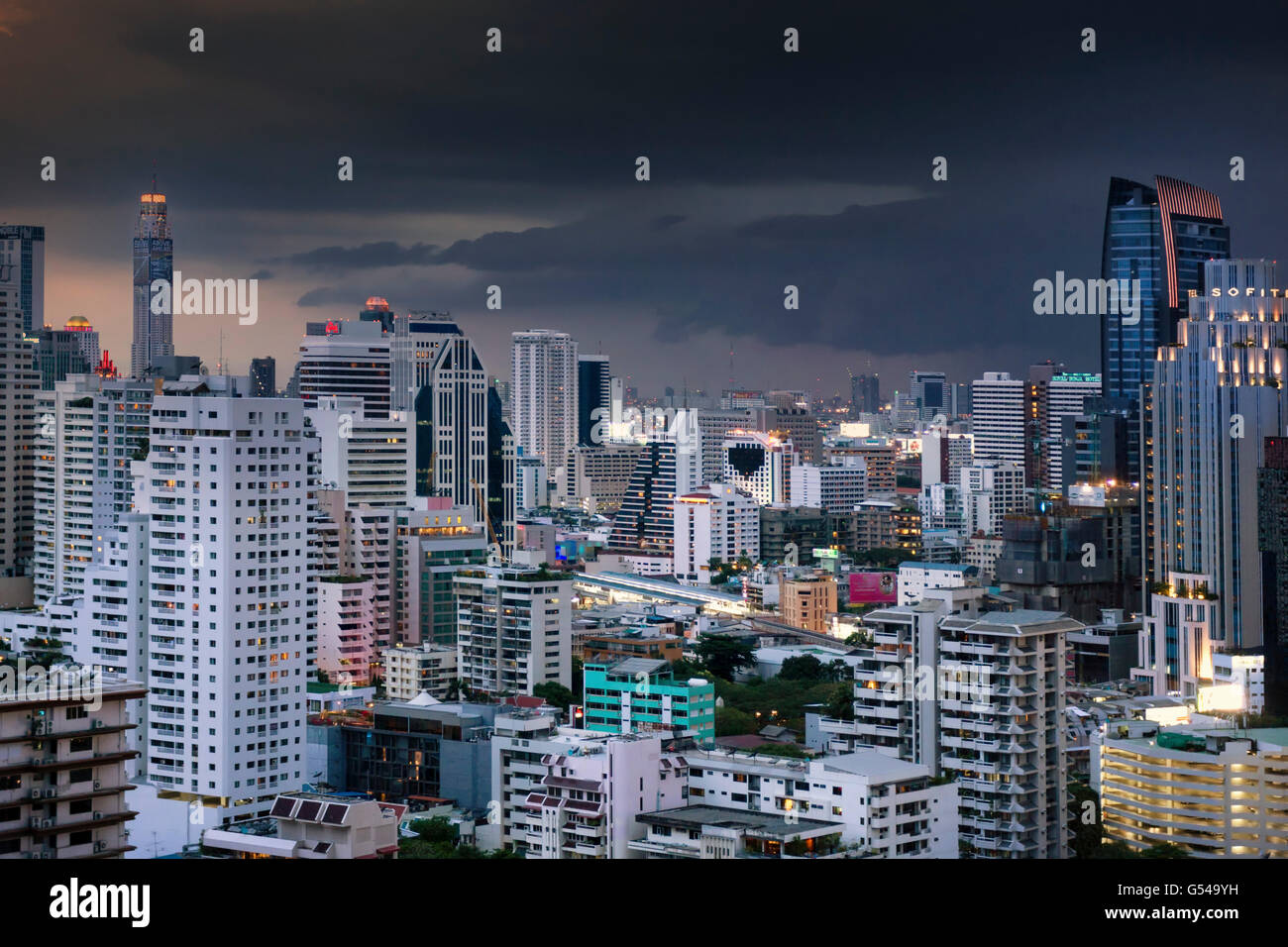 The Skyline of Bangkok with heavy monsoon clouds Stock Photo