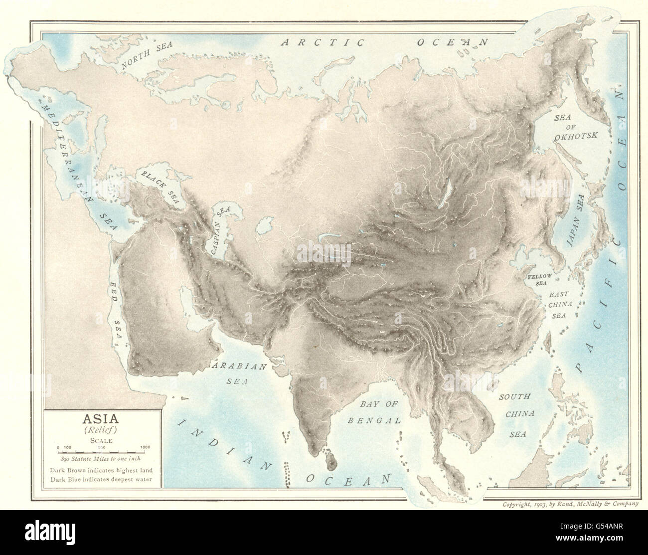 Asia Physical Relief Map Rivers 1907 Stock Photo 106431747 Alamy