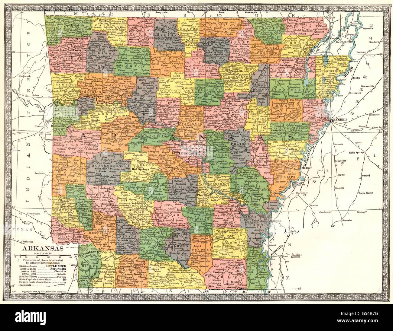 ARKANSAS state map. Counties, 1907 Stock Photo: 106432132 ...