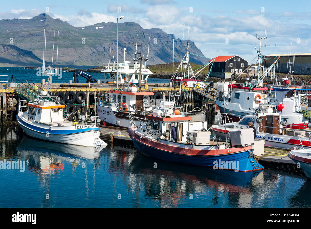Iceland, Austurland, Djúpivogur, boats in the harbor town of Djúpivogur on Iceland - Stock Image