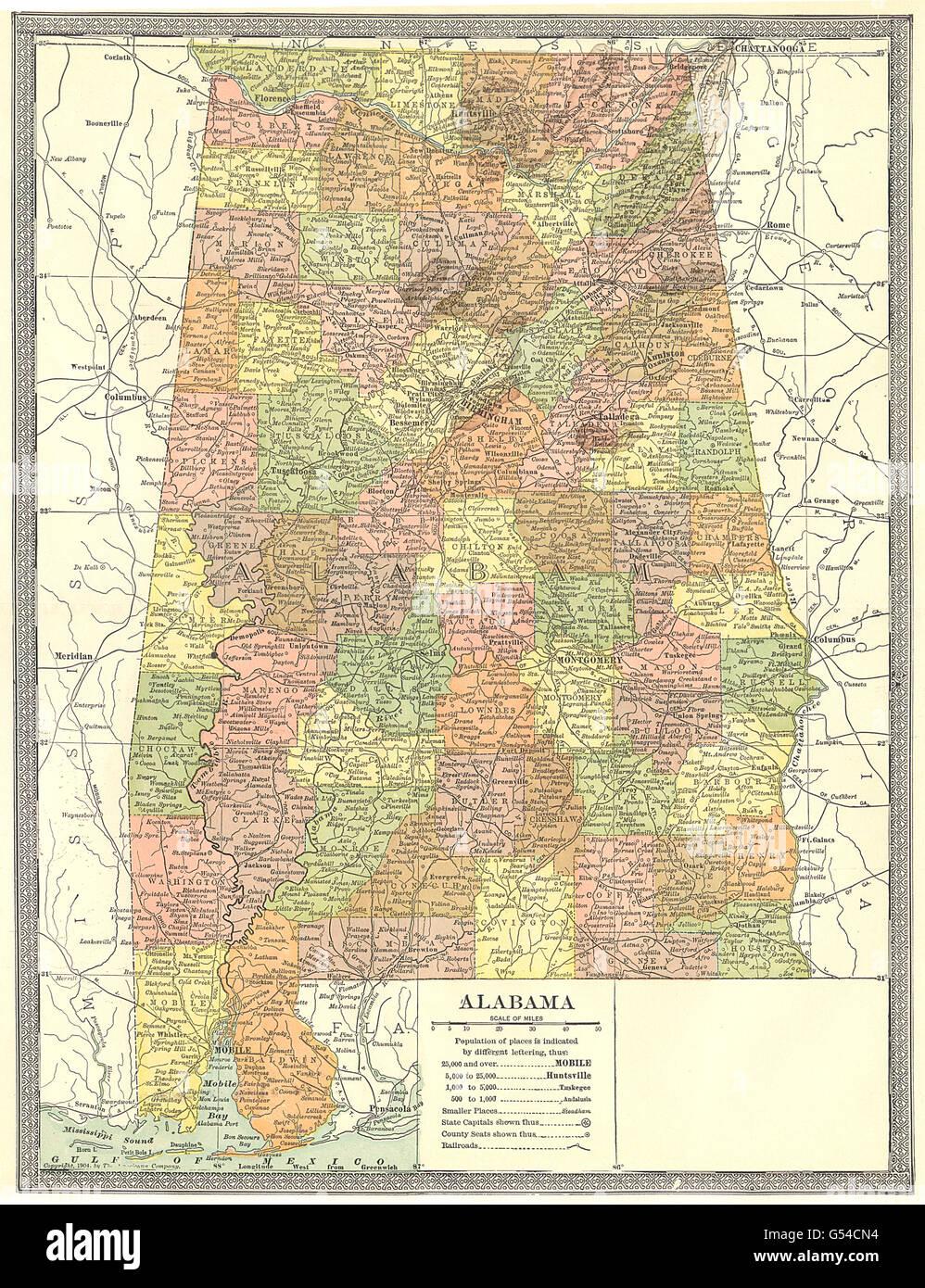 ALABAMA state map. Counties, 1907 Stock Photo: 106433296 - Alamy