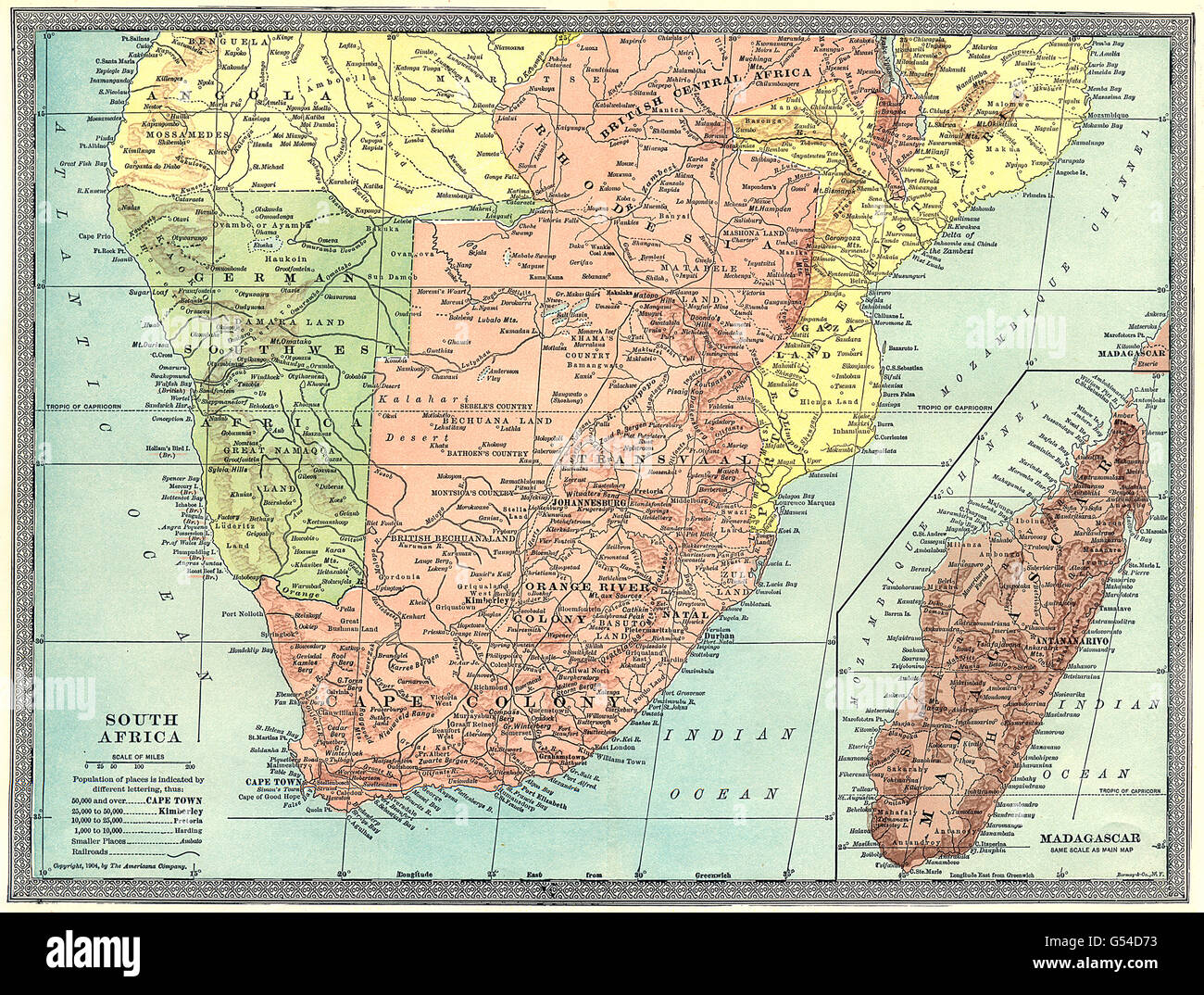 Southwest Africa Map.Colonial Southern Africa Rhodesia German Southwest Africa Stock