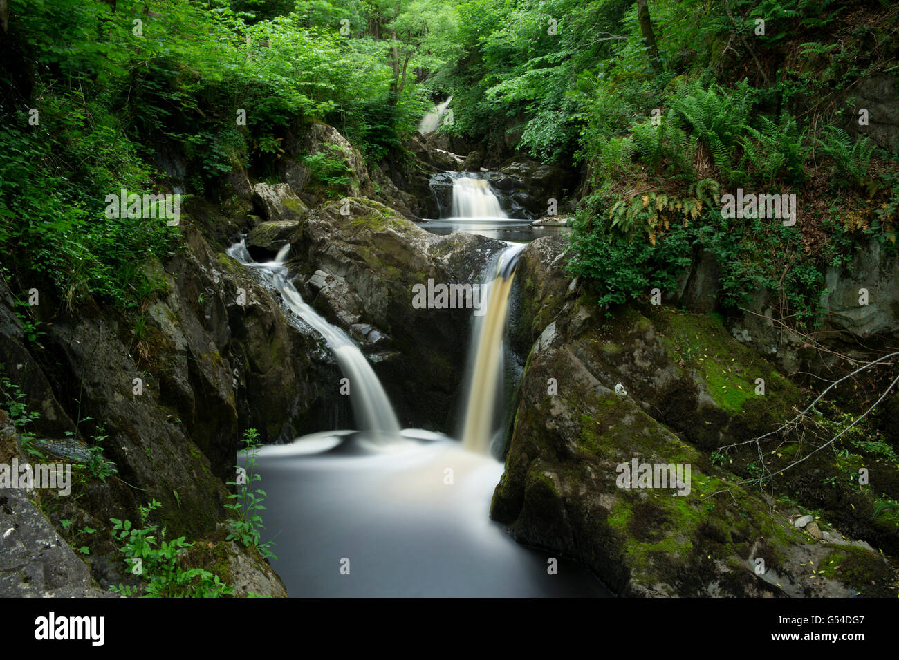 A long exposure of Pecca Falls on the River Twiss along the Ingleton Waterfall Trail in the North Yorkshire Dales - Stock Image
