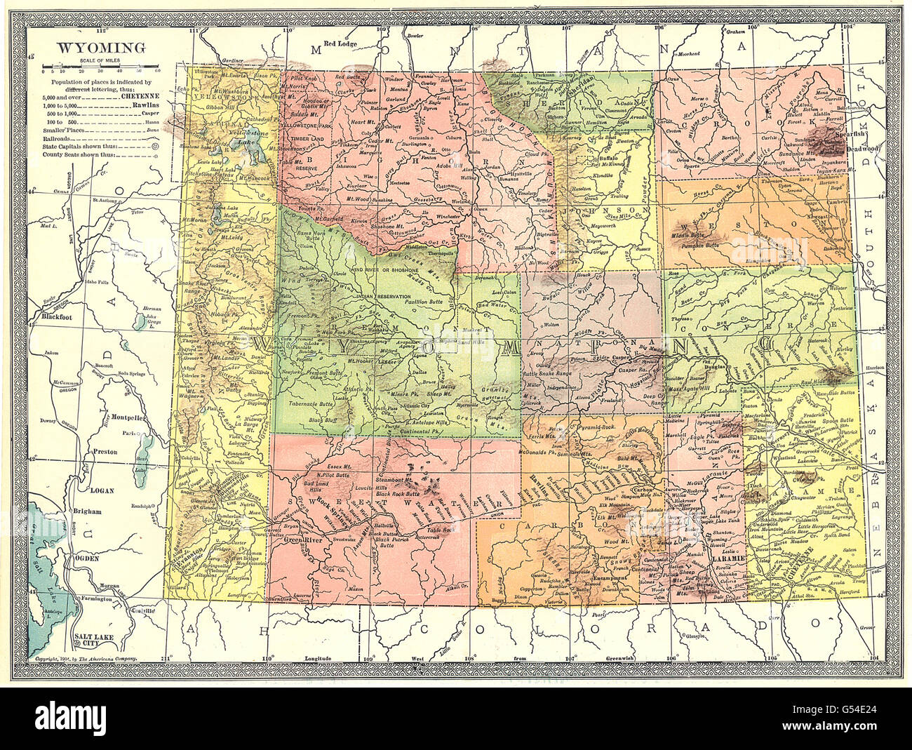 WYOMING state map. Counties, 1907 Stock Photo: 106434332 - Alamy