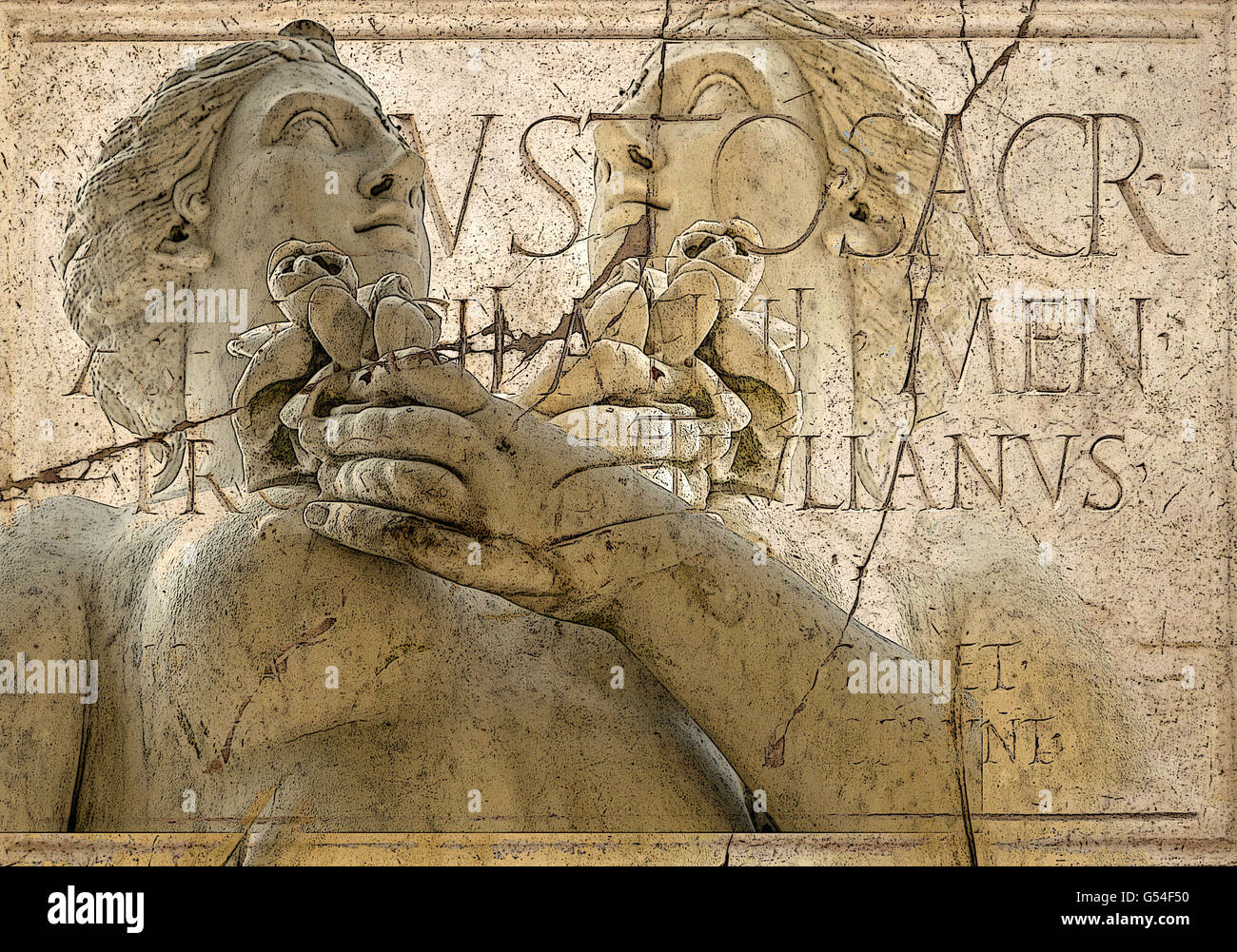 Classic sculpture. Textured and digitally altered photo with Latin inscription. - Stock Image