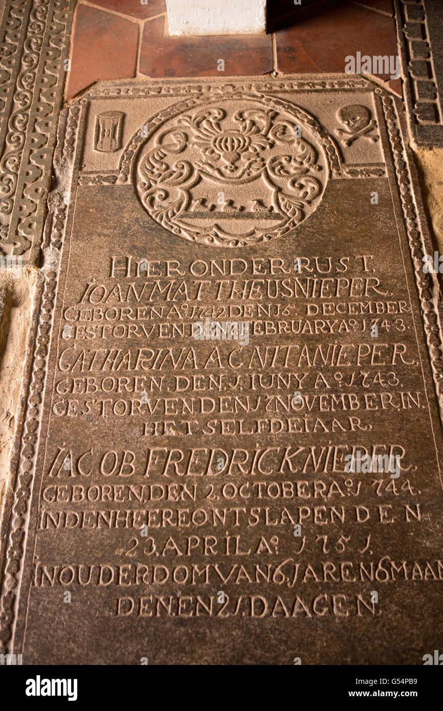 Sri Lanka, Galle Fort, Church Street, Groote Kerk or Dutch Reformed Church, old Nieper family gravestone Stock Photo