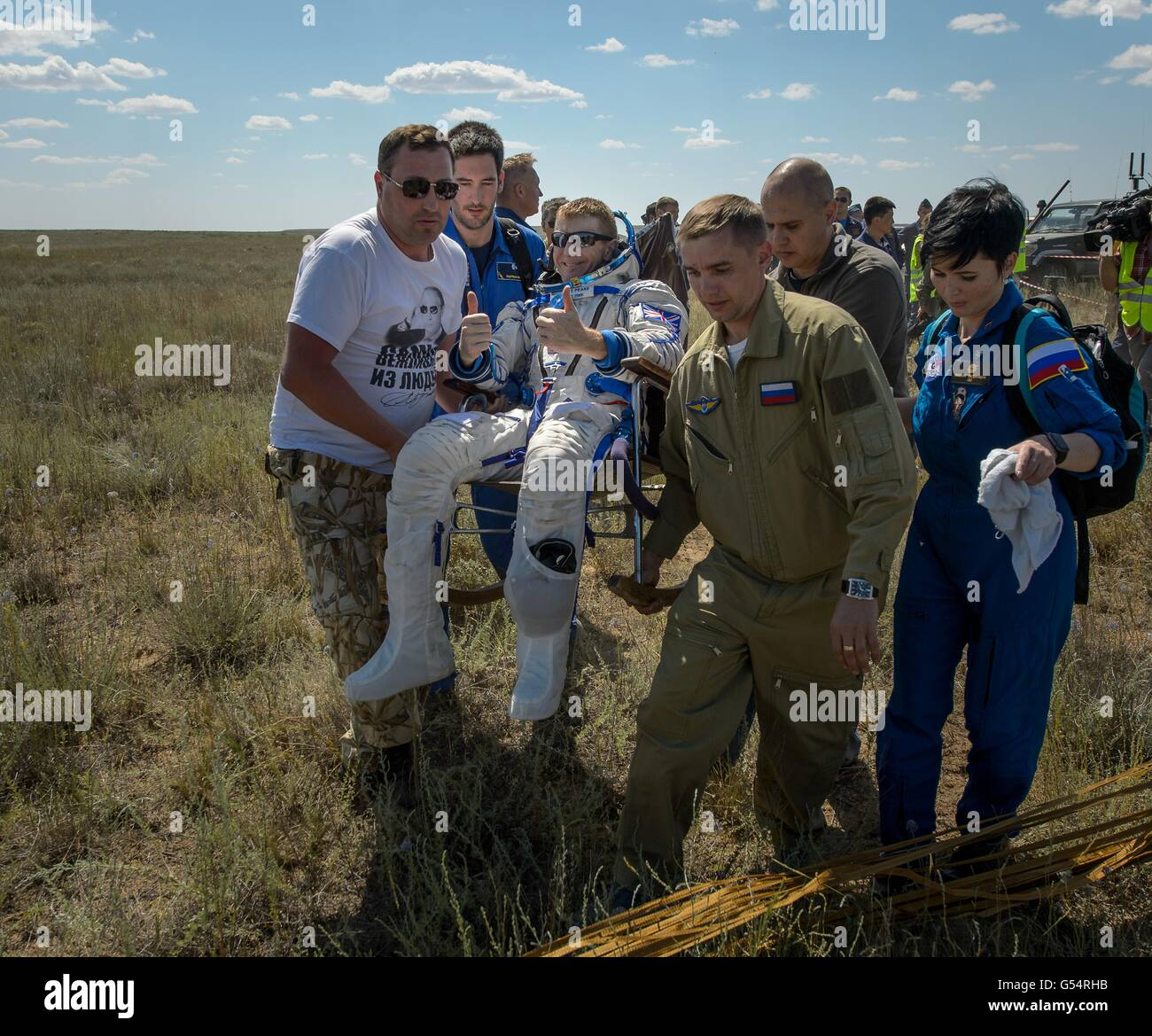 International Space Station Expedition 47 crew member European Space Agency astronaut Tim Peake is carried to a - Stock Image