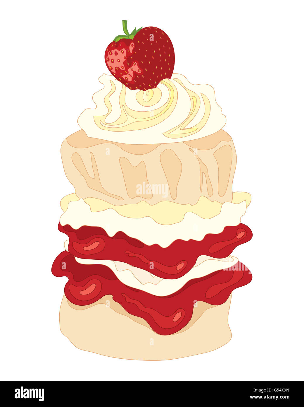 a tall cream and jam scone with layers of filling a cream swirl and a strawberry on top with a white background - Stock Image
