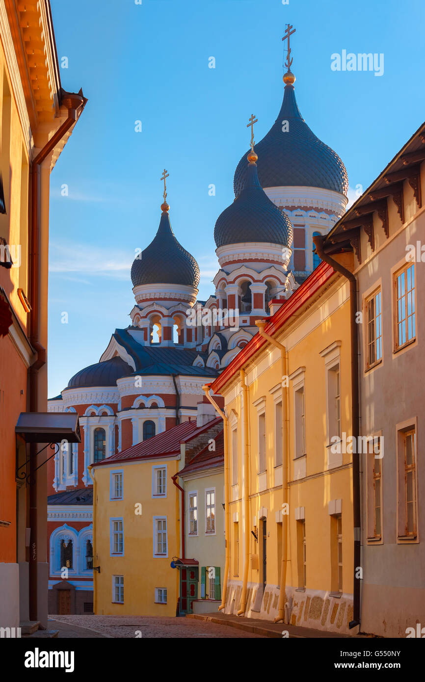 Alexander Nevsky Cathedral and Tallinn street - Stock Image
