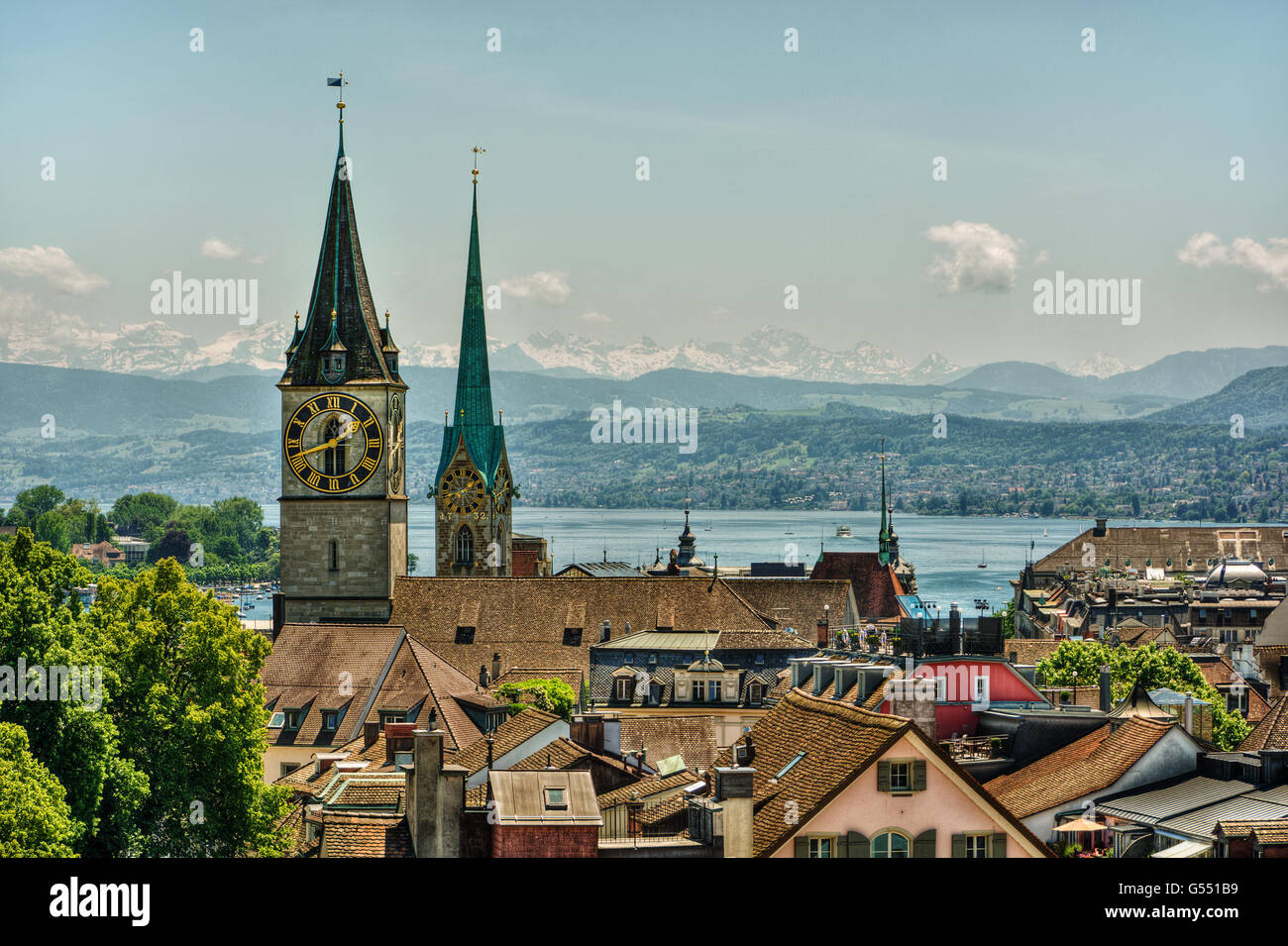 June 2016, urban capture of Zurich, focus on the Lake Zurich and the churches Frauenmünster and St. Peter, - Stock Image
