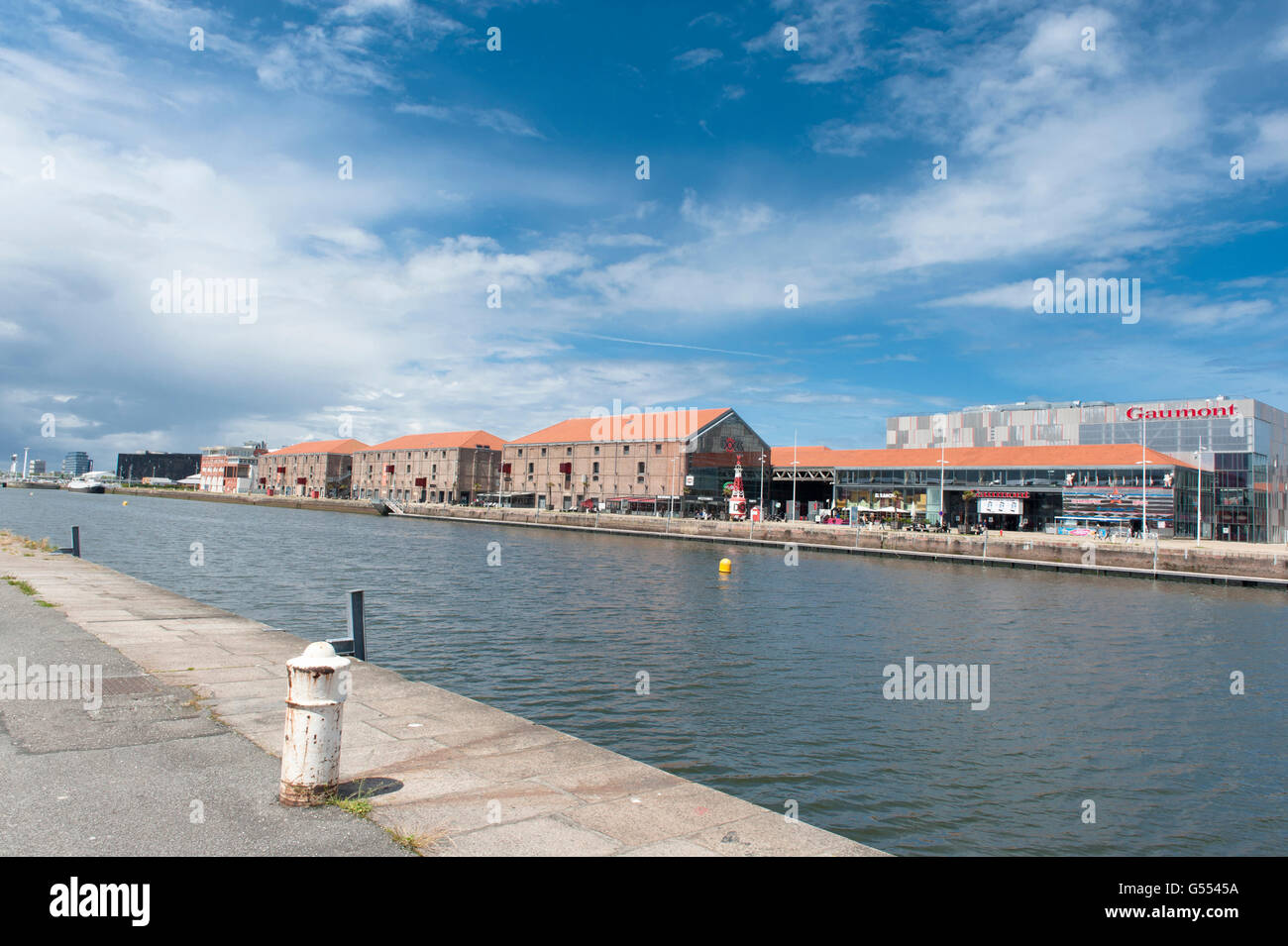 waterfront red brick warehouse stock photos waterfront. Black Bedroom Furniture Sets. Home Design Ideas