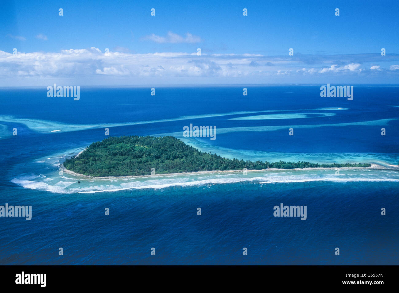 Marshall Islands, Micronesia: a coral islet that is part of Jaluit Atoll, located on Northeast Pass between the - Stock Image