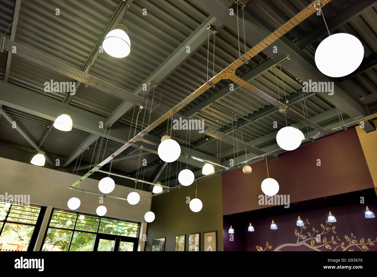 coffee shop lighting. Ambient Domed Lighting In A Motorway Services Coffee Shop UK G