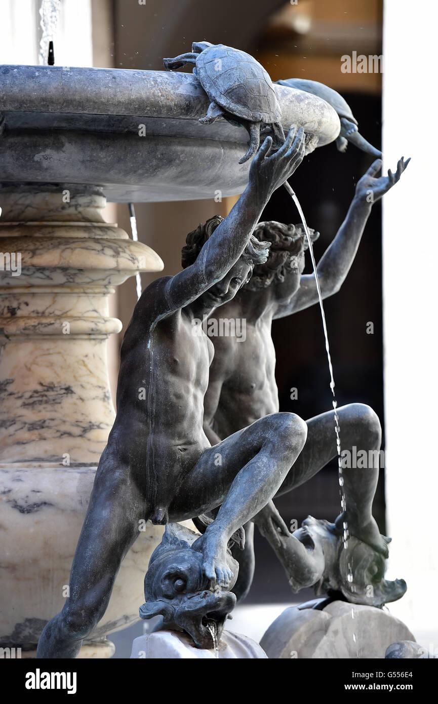 turtle and boys Fountain, Rome, Fontana Monumentale Delle Tartarughe Stock Photo