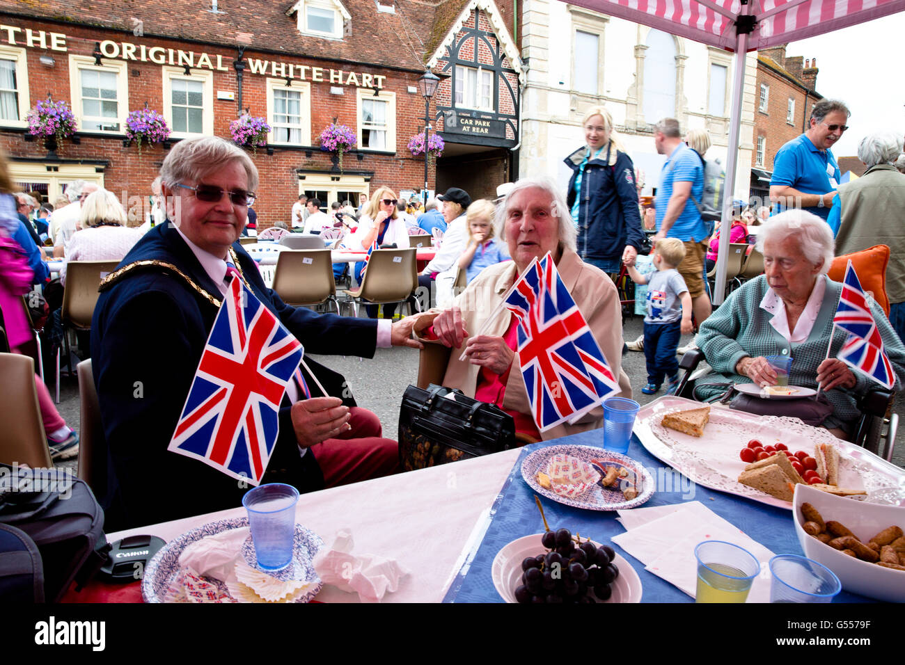 Street party celebrations for the Queen's 90th Birthday in Ringwood 2016 - Stock Image