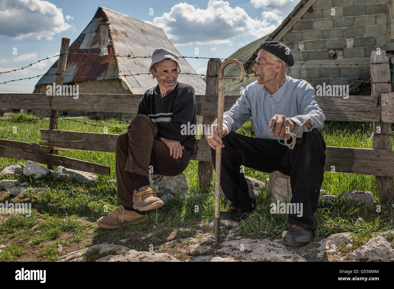 Two old men by Lukomir, the most remote and higher village of Bosnia-Erzegovina  Europe, - Stock Image