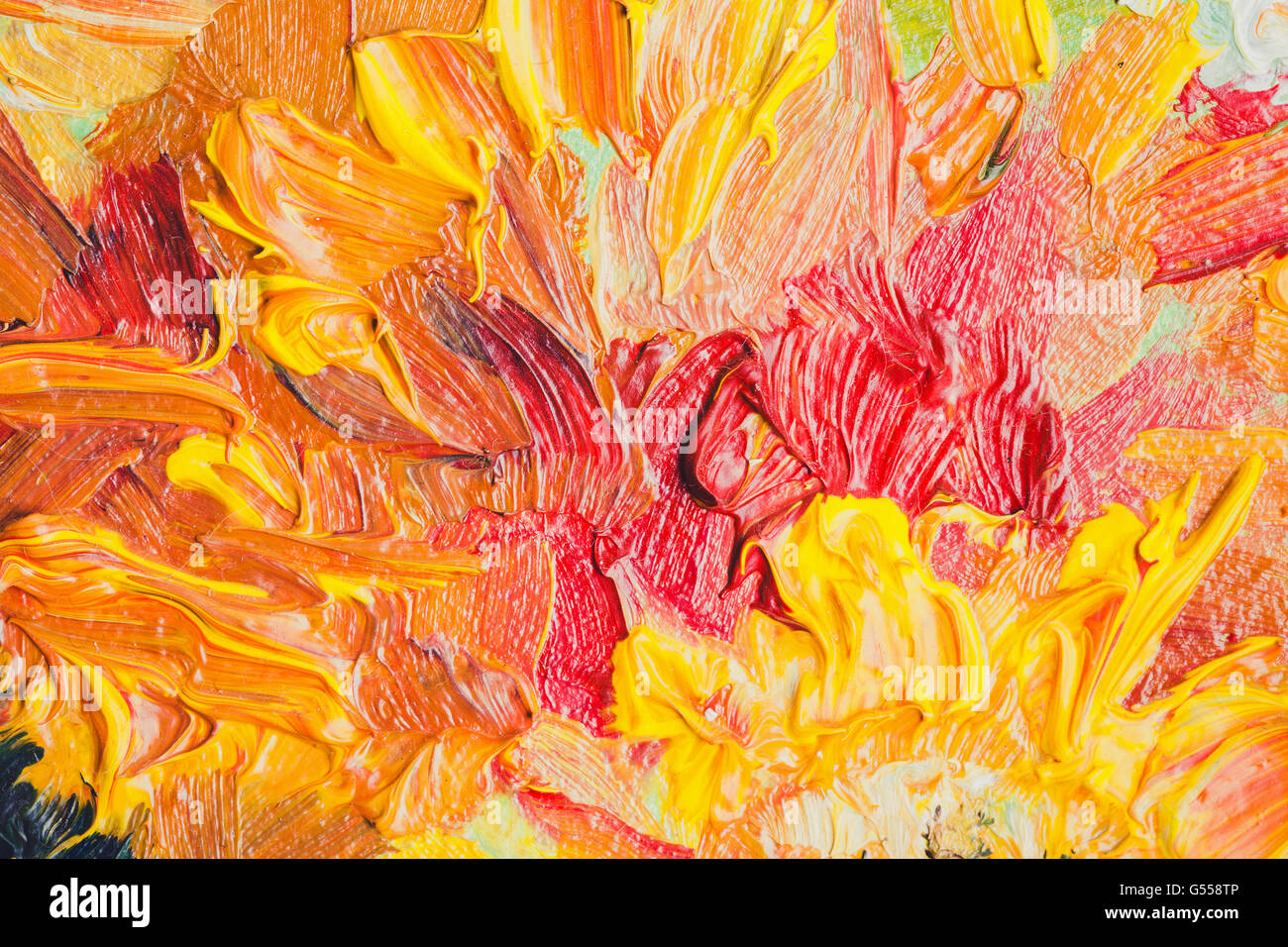 Oil painting close-up fragment, strokes of abstract colorful flowers ...