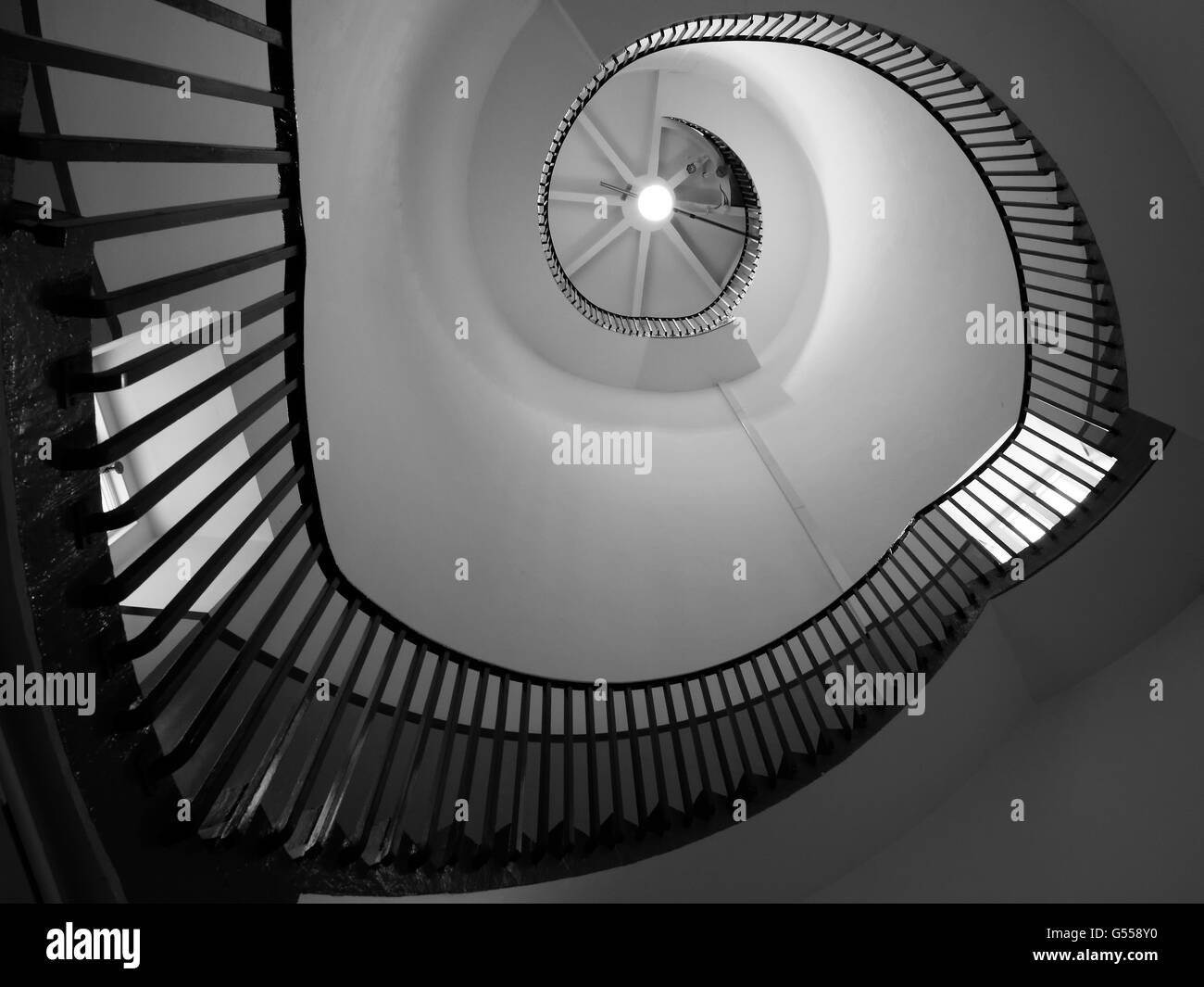 Spiral Staircase in the Lighthouse in Southwold - Stock Image