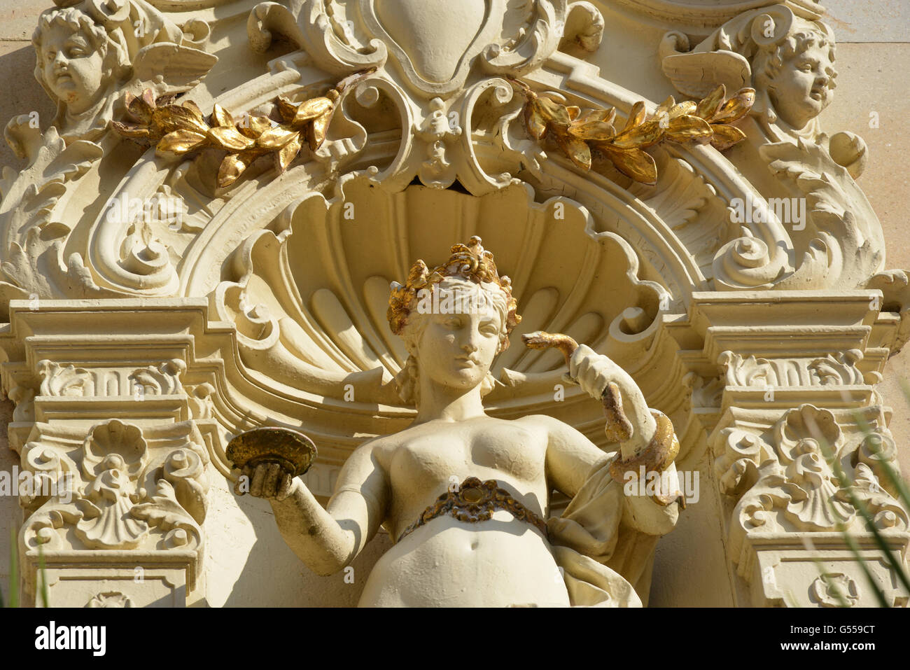 Statue of Hygieia, the goddess/personification of health, cleanliness and hygiene, on the Colonnades of Marianske - Stock Image