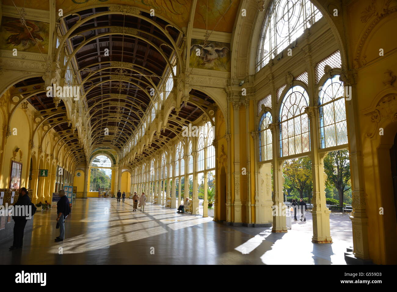 Interior view of the new Baroque Colonnade in Marienbad / Marianske Lazne, that  was built between 1888 and 1889. - Stock Image