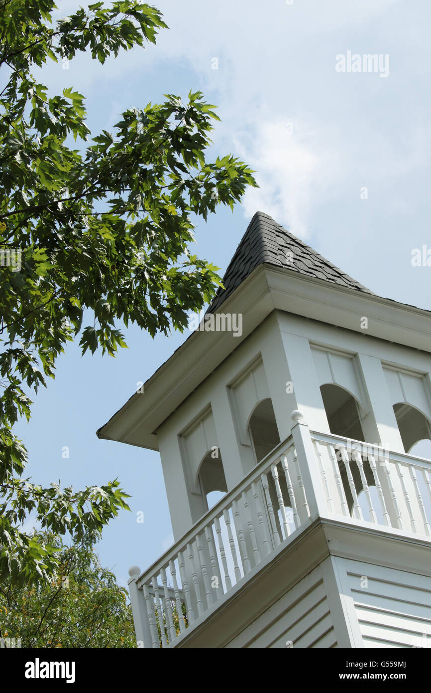 Church Cupola. With tree and blue sky. Western Reserve Village. Canfield Fair. Mahoning County Fair. Canfield, Youngstown, - Stock Image