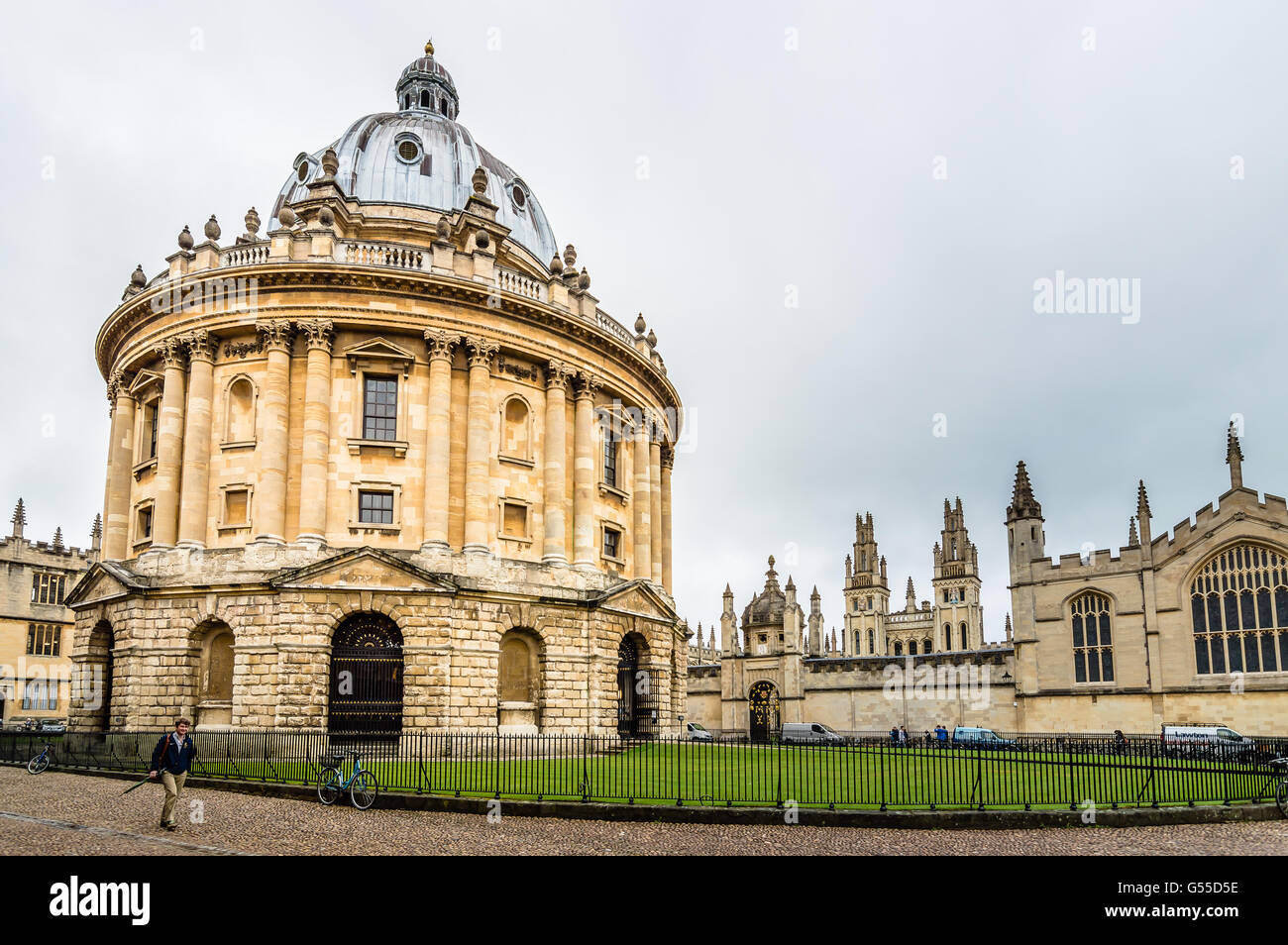 Oxford, UK - August 12, 2015: Low angle view of Radcliffe Camera in Oxford a cloudy day - Stock Image