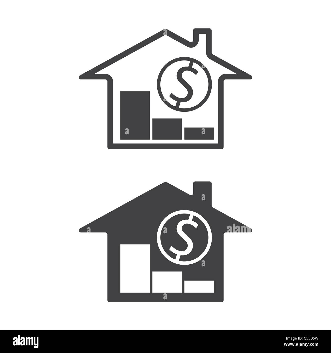 Home Money Symbols With Trend Down Real Estate Property Price Stock