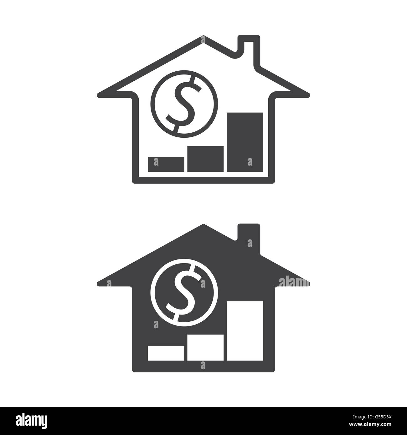 Home Money Symbols With Trend Up Real Estate Property Price