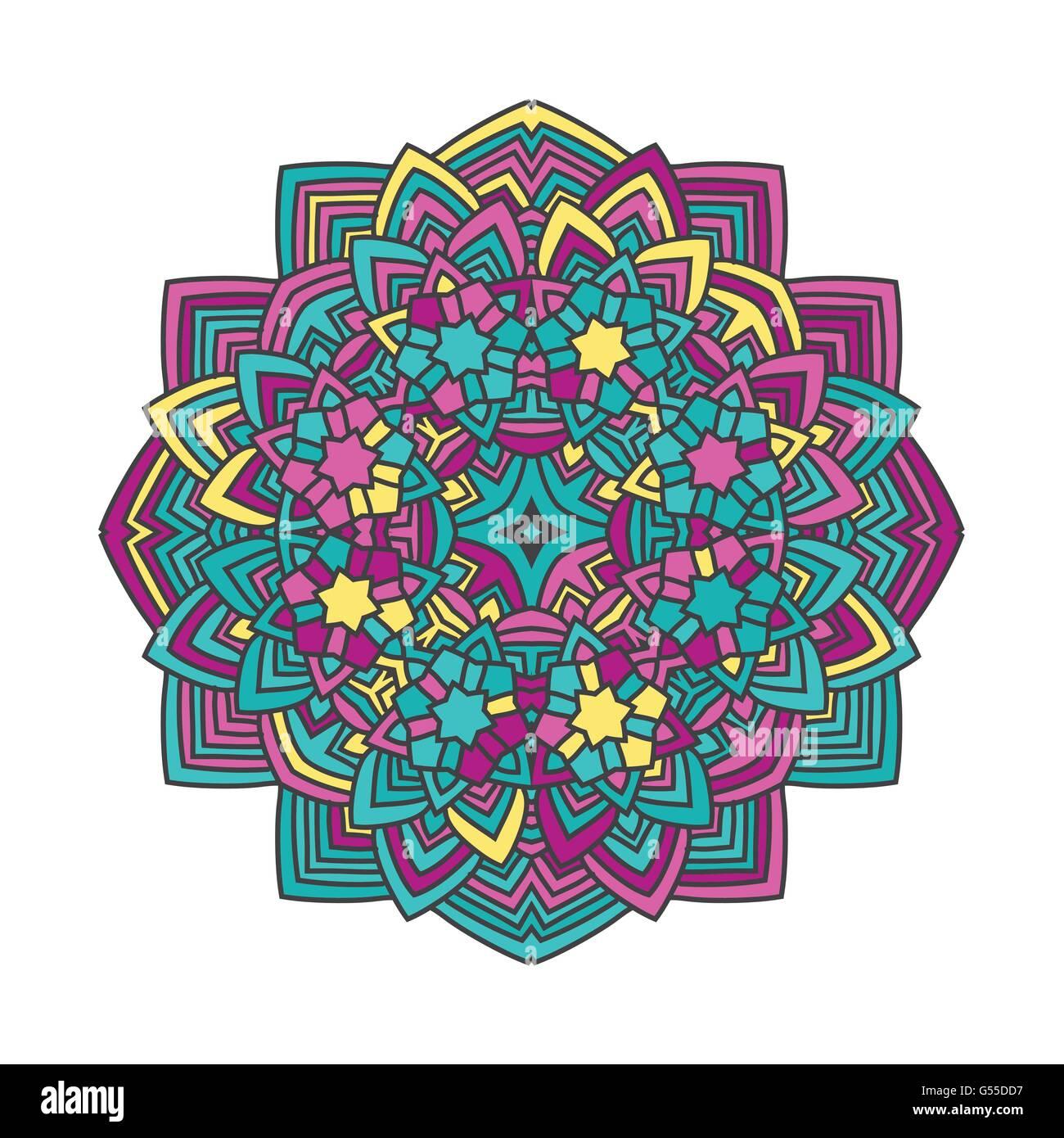 Abstract Color Flower Mandala Vector Illustration