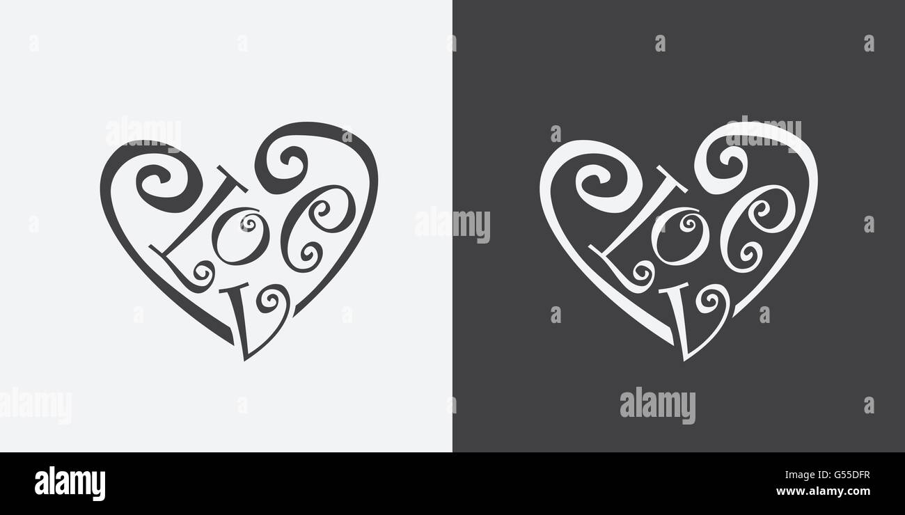 Calligraphic Word Love Meaning Of Heart Symbol Vector Illustration