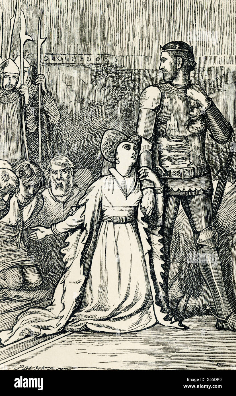 Queen Philippa (1314-1369) was the wife of Edward III of England and thus queen of England. Edward had lay siege - Stock Image