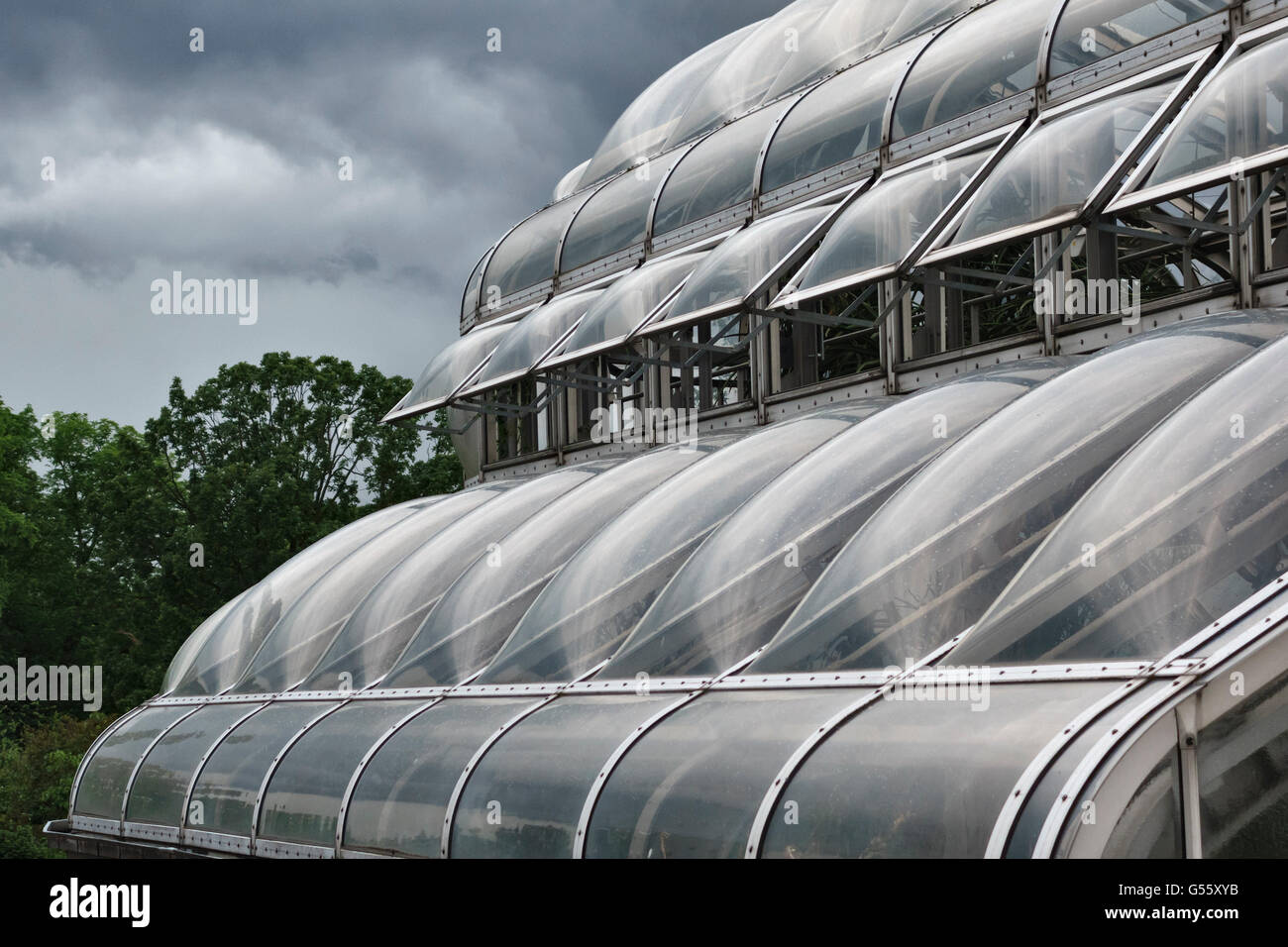 Berlin, Germany - the Berlin-Dahlem Botanical Garden. Roof detail of one of the greenhouses, approaching storm - Stock Image