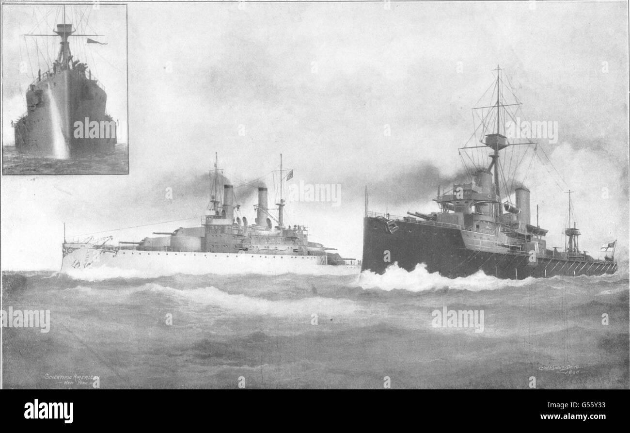 DREADNOUGHTS: Battleships South Carolina (US) Dreadnought (UK), old print 1907 - Stock Image