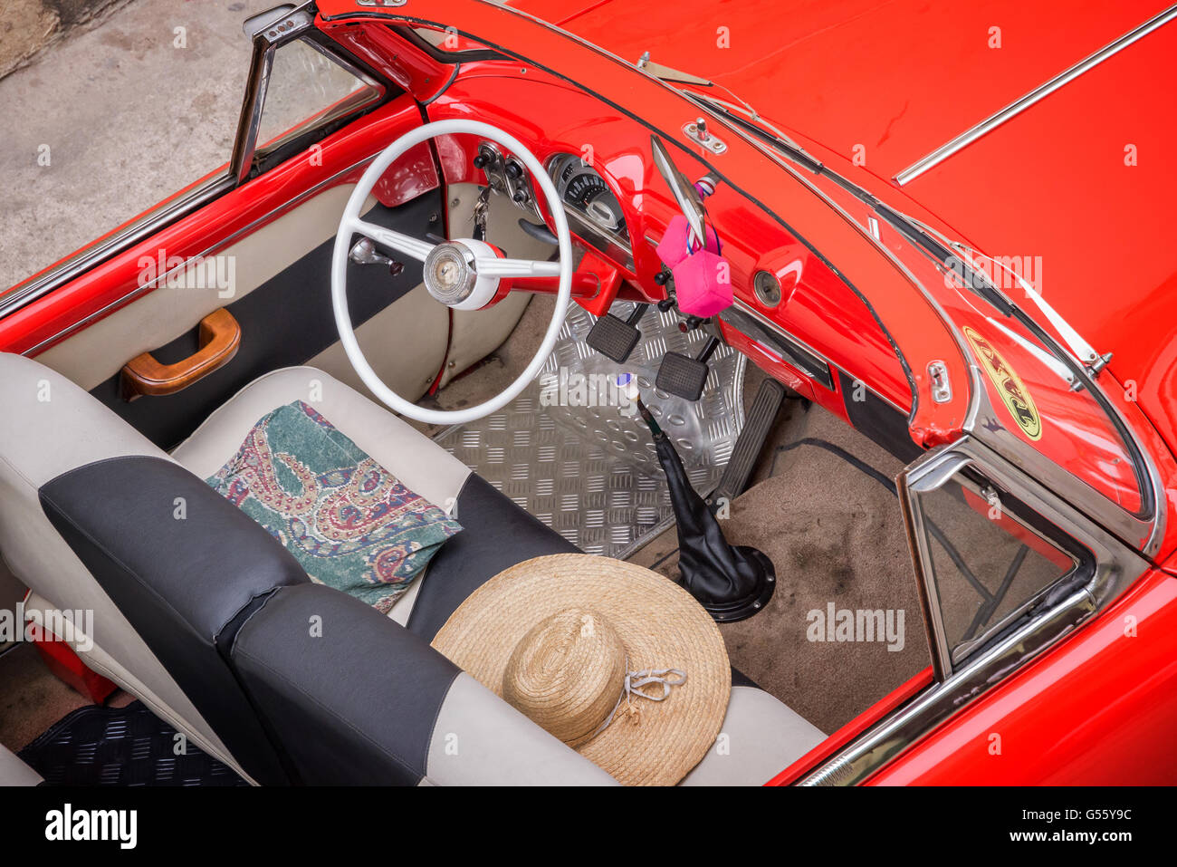 Vintage classic american car, view from above in Havana, Cuba - Stock Image