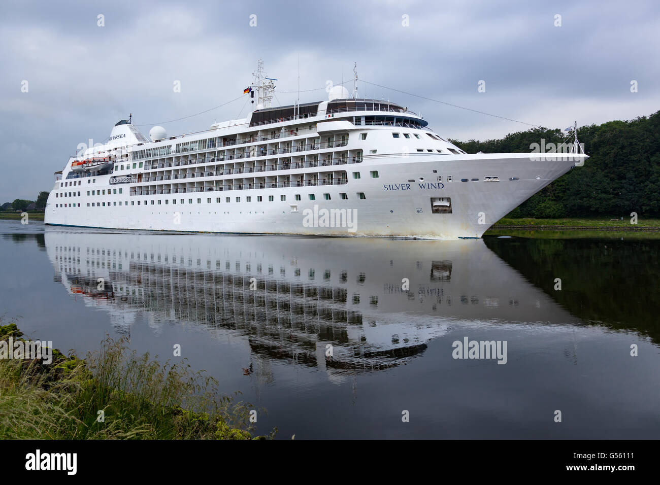 Cruise Ship 'Silver Wind' transit through the Kiel Canal on it's way from London, UK to Copenhagen, - Stock Image