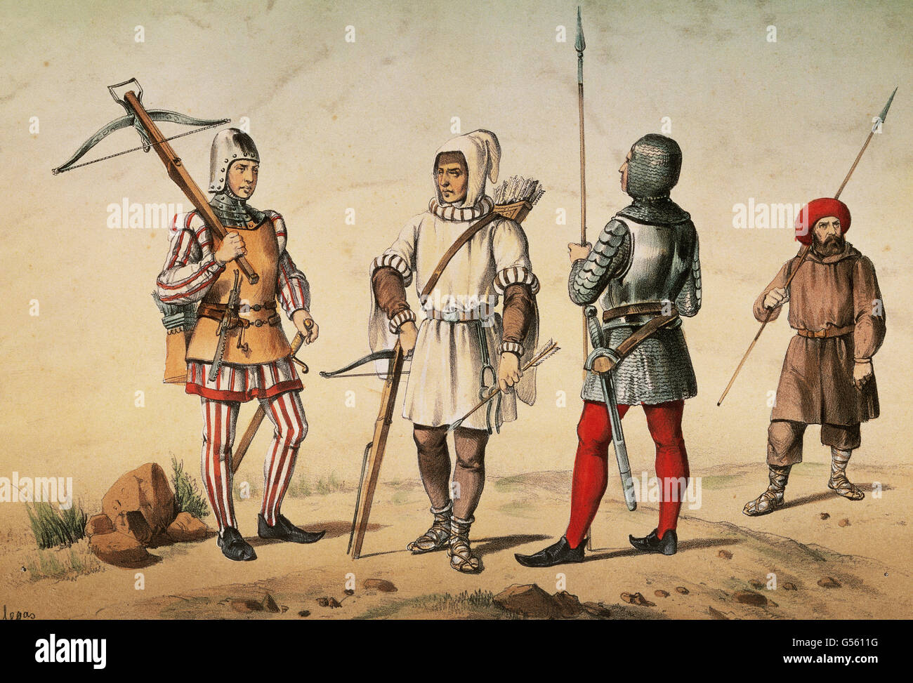 Spanish warriors. Middle Ages. 15th century. Armed retinue's crossbowmen of city and mountains of Leon and armed - Stock Image