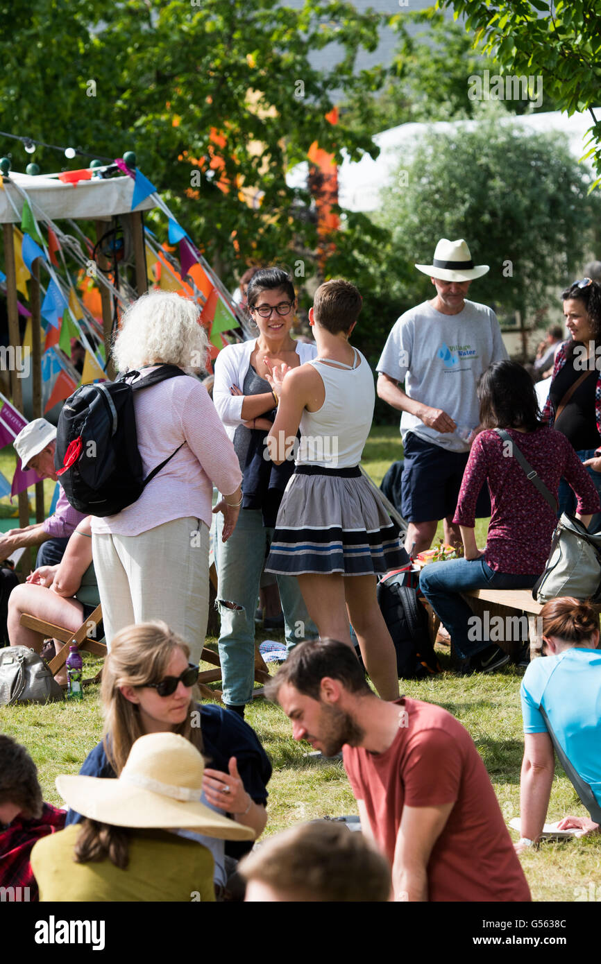 People attending the annual The Hay Festival of Literature and the Arts, 'the Woodstock of the Mind', Hay - Stock Image